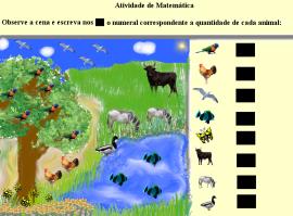 Observe a cena, conte os animais e registre as quantidades