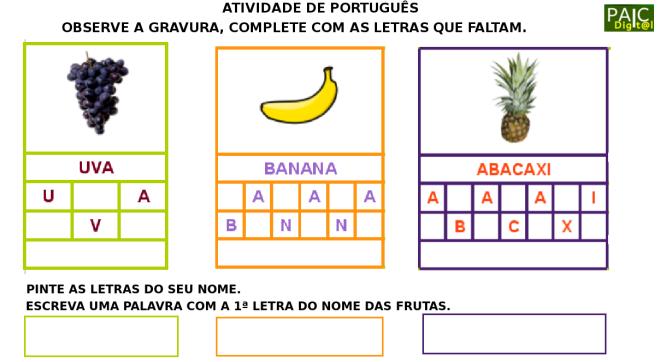 alimentação,escrita,frutas,Português,TuxPaint