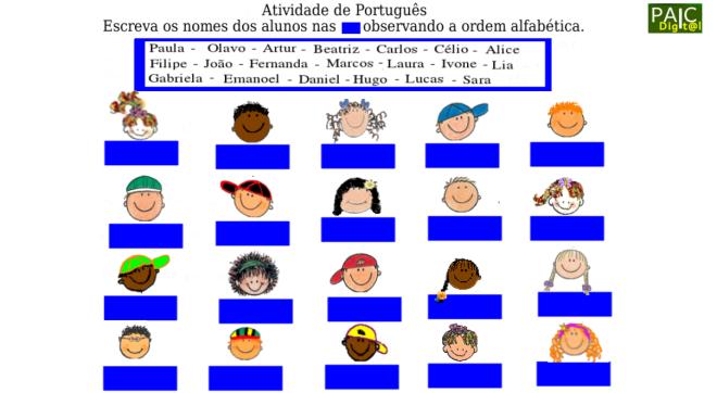 ordem alfabética, escrita,leitura,Português,TuxPaint