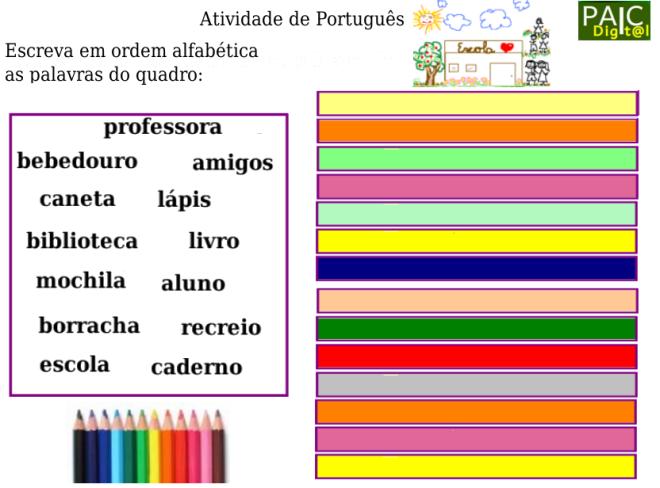 ordem alfabética,escola,escrita,leitura,Português,TuxPaint
