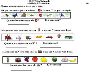 Complete a sequencia com o antecessor e o sucessor dos numerais