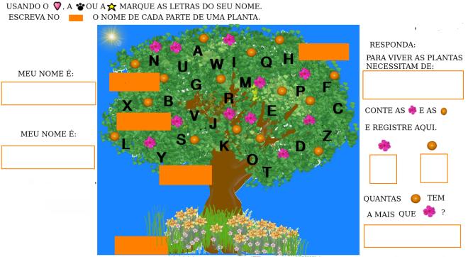 árvore, ciências,escrita, leitura, matemática,nome,TuxPaint