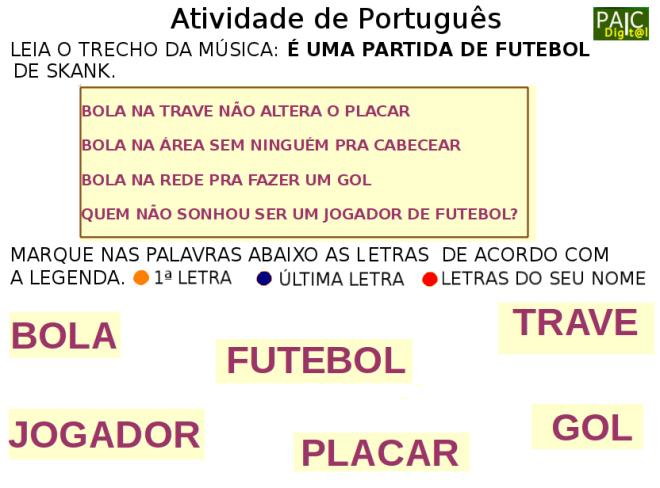 escrita,futebol,leitura, Português, TuxPaint