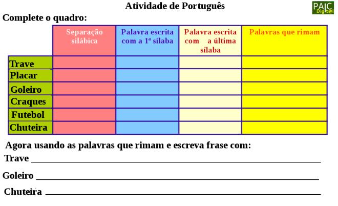 escrita,futebol,leitura,Português, TuxPaint