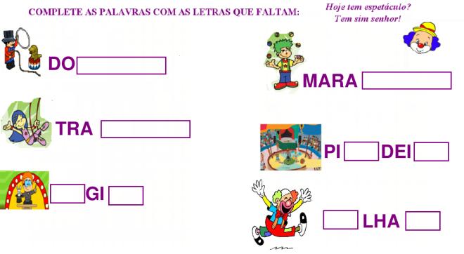 o circo,escrita,leitura, Português,TuxPaint