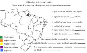 Pinte as regiões de acordo com a legenda, em seguida responda ao que se pede: