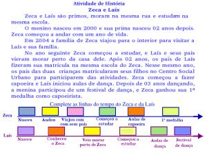Leia e descubra o ano  dos acontecimentos da vida de Zeca e Laís
