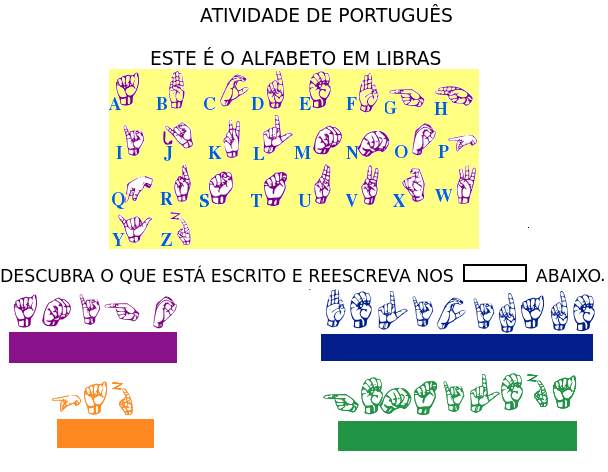 Atividade com o alfabeto em LIBRAS