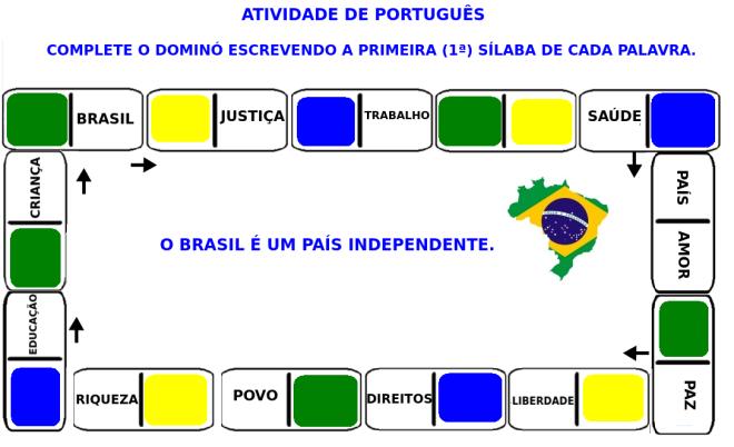 Brasil, dominó,escrita, leitura,pátria,TuxPaint