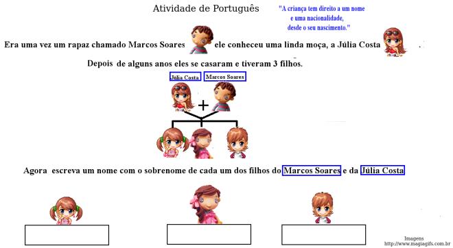 escrita, leitura,nome e sobrenome,Português,TuxPaint