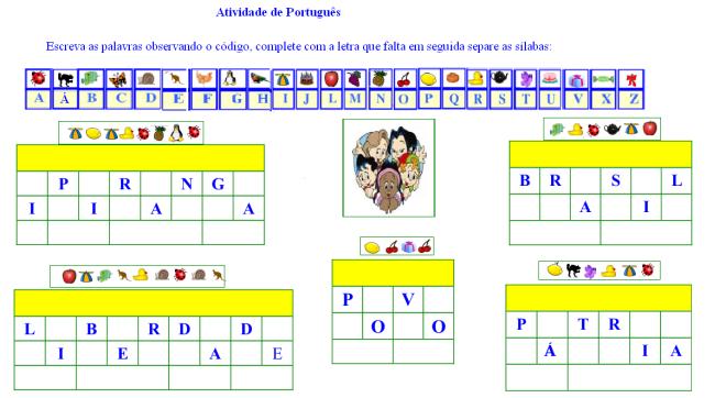 escrita,leitura, pátria,Português,TuxPaint