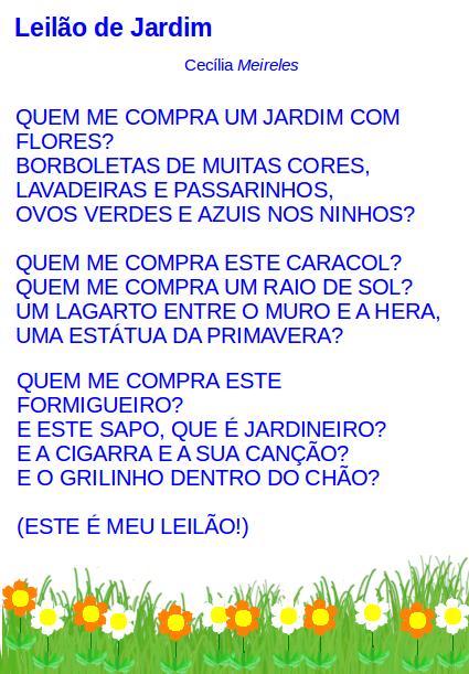 lão de jardeimlei, leitura, poesia, Cecília Meireles,TuxPaint