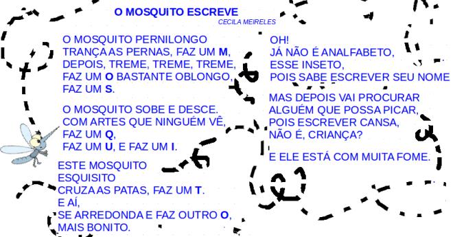 o mosquito escreve, leitura, poesia, Cecília Meireles,TuxPaint